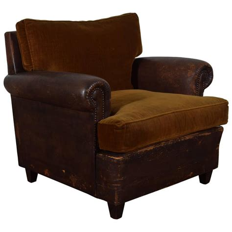 leather upholstered and velvet club chair for sale