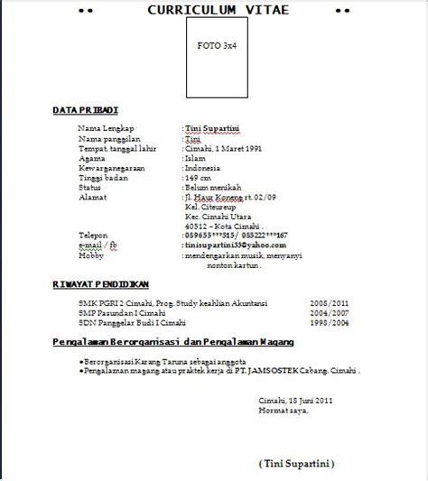Contoh Resume Lamaran Kerja by Surat Lamaran Kerja Dan Cv Anekacontoh