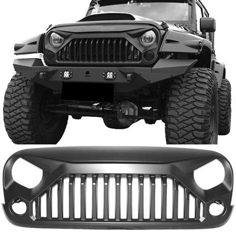 buy grille fits   jeep wrangler jk jku  topfire angry bird gladiator style matte