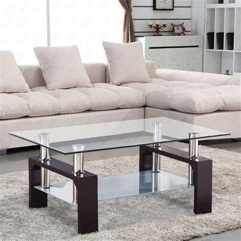 glass coffee table shelf rectangular chrome walnut wood