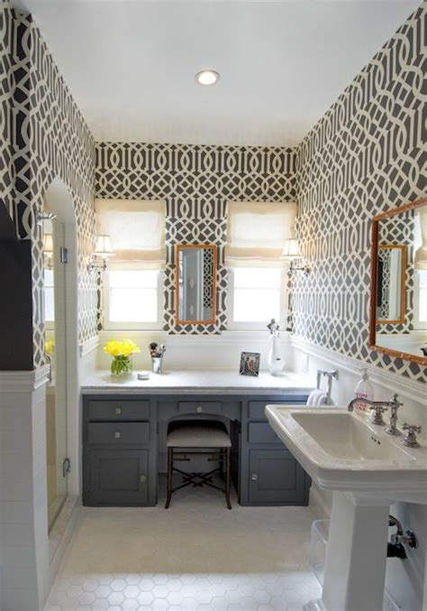 Imperial Trellis Wallpaper Contemporary bathroom Amie Sherry Designs
