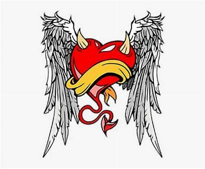 Angel Devil Wings Heart Horns Clipart Transparent