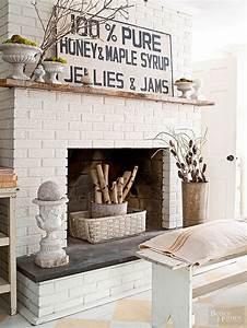 Painted diy brick fireplace makeover better homes gardens for What kind of paint to use on kitchen cabinets for fireplace wall art