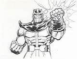 Thanos Coloring Infinity Pages Gauntlet Fist Marvel Drawing Adams Lineart Power Printable Neal Comics War Avengers 1980s Categories Coloringonly sketch template