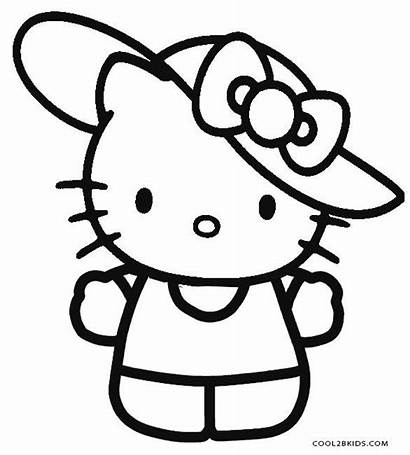 Kitty Hello Coloring Printable Pages Drawing Colouring