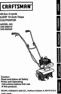 Craftsman 536292510 User Manual Cultivator Manuals And