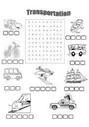 transport  kids wordsearch esl worksheet  olgad