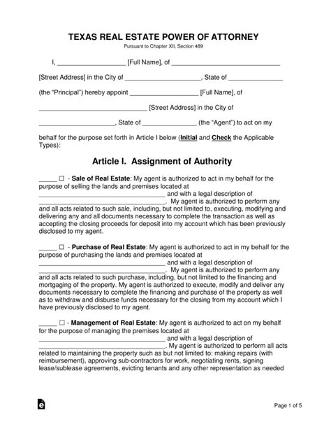 texas real estate power  attorney form word