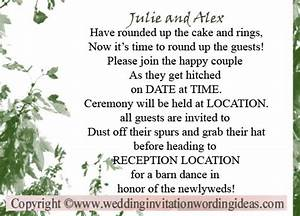 Country wedding invitation wording for Country wedding invitation wording from bride and groom