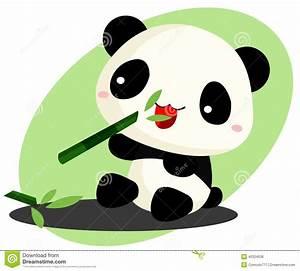 Panda eating Bamboo stock vector. Image of small, food ...