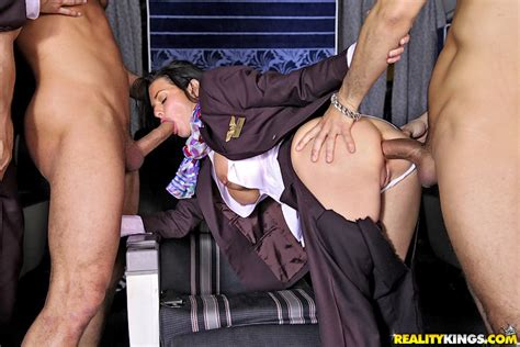 2 flight attendant babes fucked hard in these first class ...