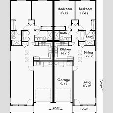 Duplex House Plans, One Level Duplex House Plans, D529