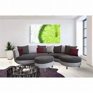 Canapé Angle Arrondi : canap d 39 angle arrondi lind pouf achat vente canap sofa divan tissu simili bois ~ Teatrodelosmanantiales.com Idées de Décoration