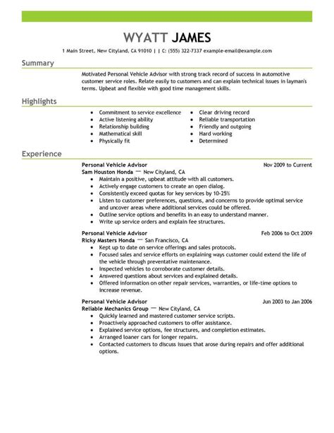 Auto Resume Writer by Best Personal Vehicle Advisor Resume Exle From