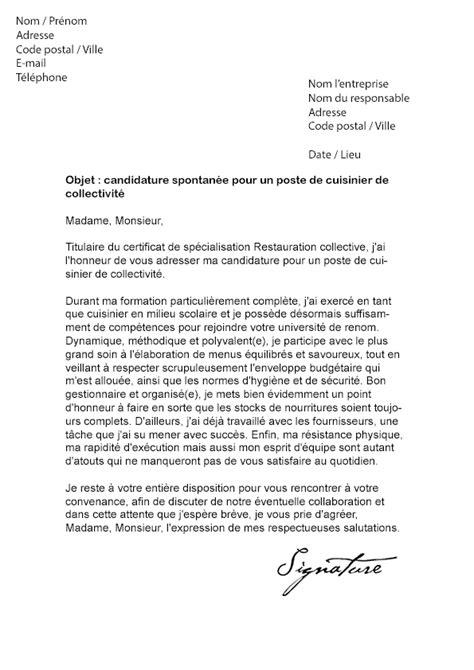 lettre pour cuisine lettre de motivation cuisinier de collectivité modèle de