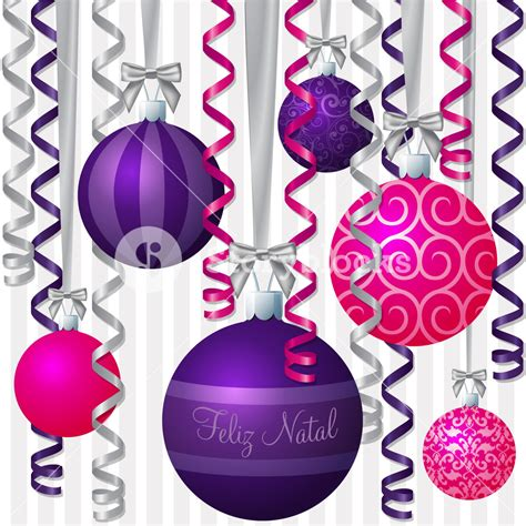portuguese pink and purple ribbon and bauble inspired merry christmas card in vector format