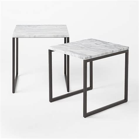 marble nesting tables box frame nesting tables marble antique bronze west elm 4021