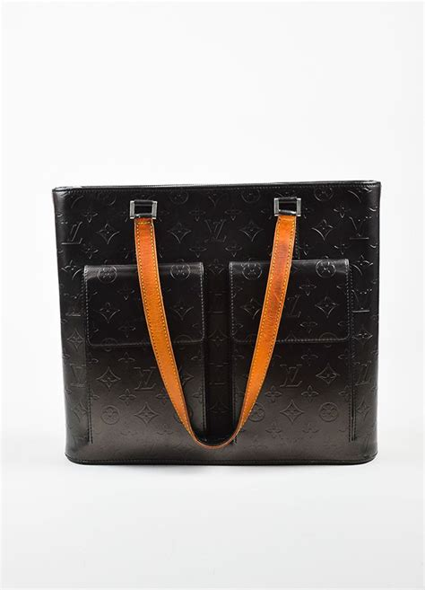 louis vuitton grey tan leather monogram vernis mat