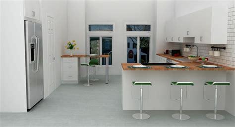 idee deco pour cuisine blanche cuisine avec bar en styles variés pour un intérieur convivial