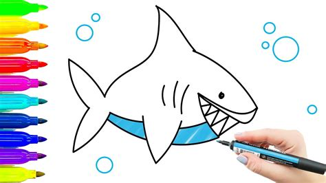 coloring with markers how to draw shark children s drawing and coloring with