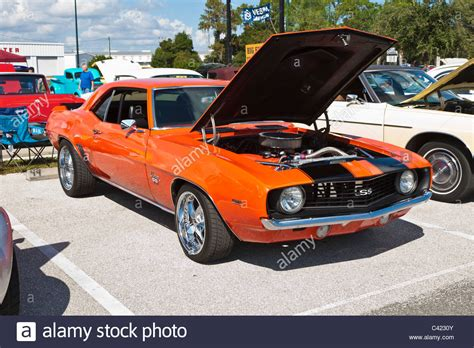 Classic Orange 1969 Camaro Ss Muscle Car At Car Show In