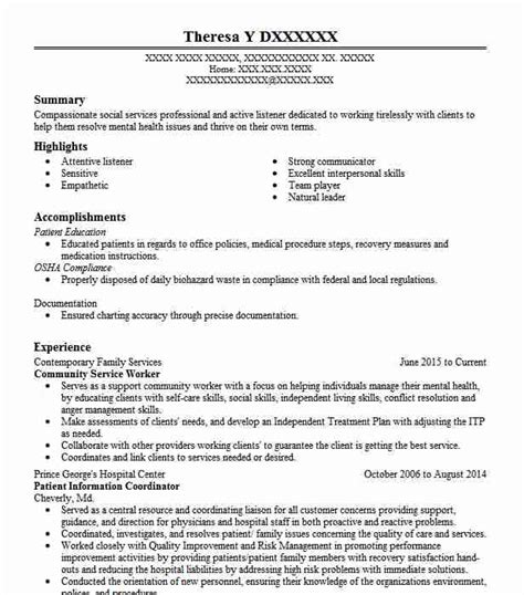 Resume For Community Service by Community Service Worker Resume Sle Worker Resumes