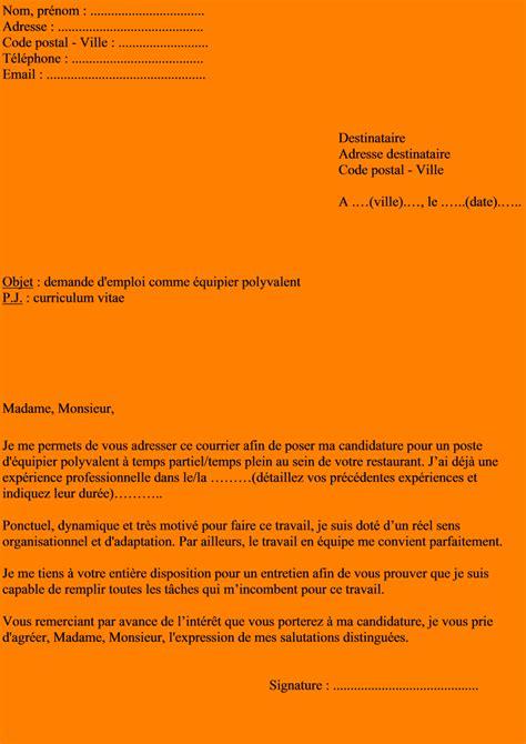 un commis de cuisine 6 exemple lettre de motivation restauration format lettre