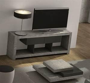 Meuble Tv Effet Beton : temahome nara meuble tv design beton avec 2 tiroirs ~ Teatrodelosmanantiales.com Idées de Décoration