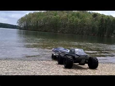Rc Boat Trailer Launch by Rc Boat And Trailer Launch Traxxas E Maxx And Traxxas