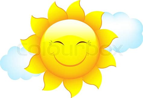 Cartoon Sun And Cloud, Isolated On White Background