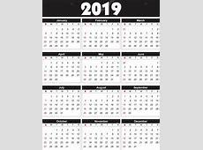 Calendário 2019 em vetor pode ser convertida em qualquer