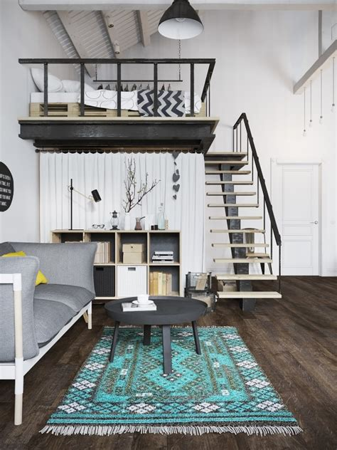 Chic Scandinavian Studio With Lofted Bed chic scandinavian studio with lofted bed feedpuzzle