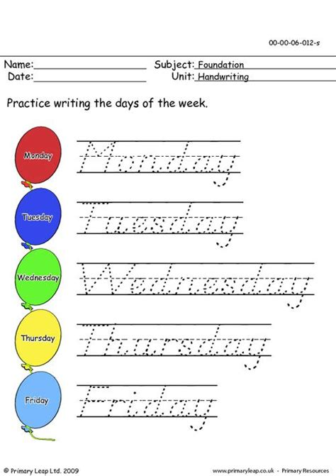 handwriting days of the week primaryleap co uk