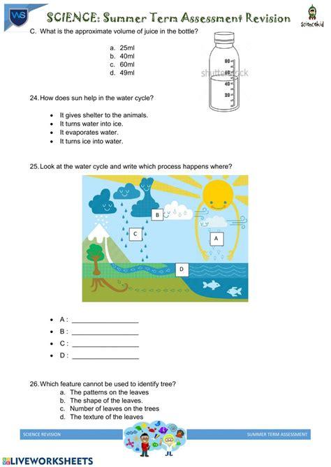 grade  science worksheet