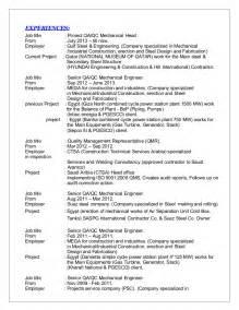 qc welding supervisor resume sr qa qc mechanical engineer