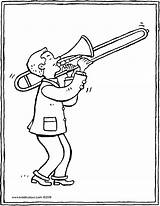 Trombone Player Colouring Kiddicolour Drawing Pages sketch template