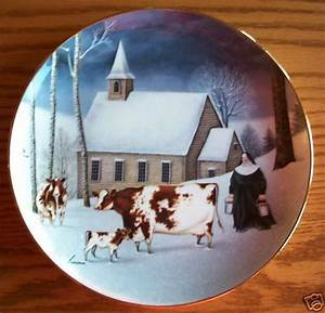 Lowell Herrero Winter Milking Cow Nun Plate   Franklin