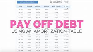 Pay Off Debt Calculator Free How To Use An Amortization Schedule To Pay Off Debt Youtube