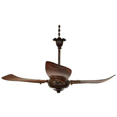 three blade ceiling fan italian iron and wooden three blade ceiling fan circa