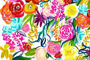 LARGE PRINT Neon Summer Floral fabric theartwerks
