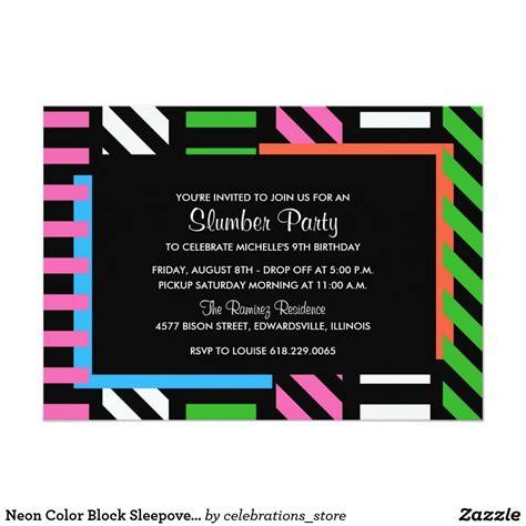 neon color block sleepover birthday party invite zazzle