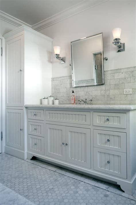 dove gray vanity  beadboard paneling hgtv