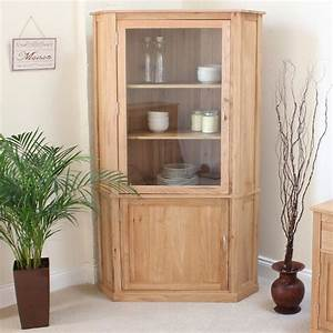 Mobel Oak Large Corner Display Cabinet COR01E Home