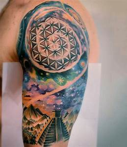 Aztec themed colored spacehalf sleeve tattoo ...