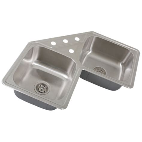 stainless steel corner kitchen sink ticor s999 corner overmount 18 stainless steel 8232