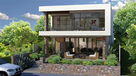 modern house plans for narrow sloping lots