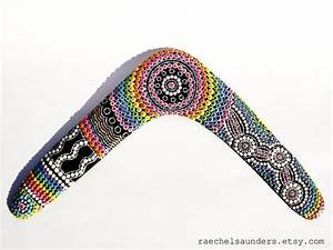 Aboriginal Hand Painted Returning Boomerang  Rainbow