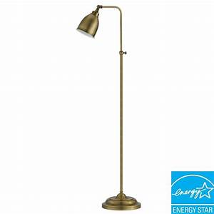 cal lighting 62 in antique bronze metal adjustable With 3 way thick base floor lamp antique bronze