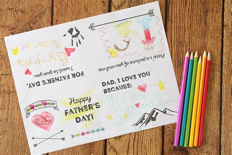 In the uk, it falls on the third sunday of june each year, following mother's day in march. Adorable printable Father's Day card for kids to color ...