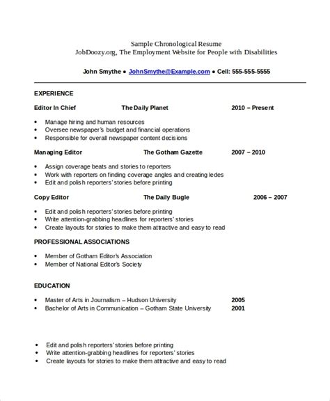 Sle Resume Psd Format by Chronological Resume Template Word 25 Images